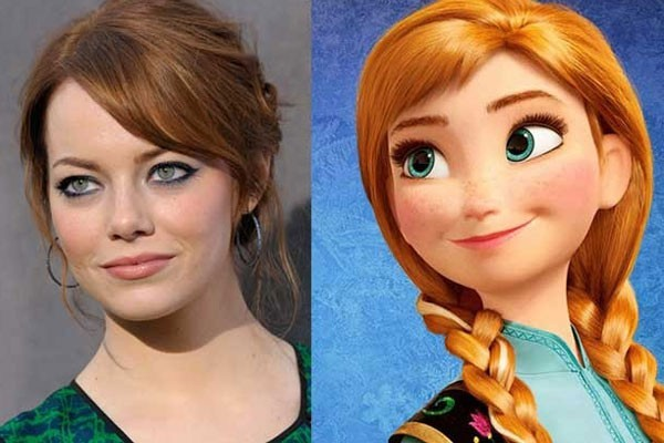 Emma Stone and Anna from Frozen