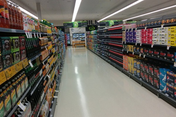 A well organized supermarket aisle