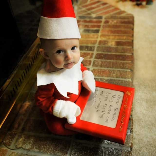 The elf also reports back to Santa