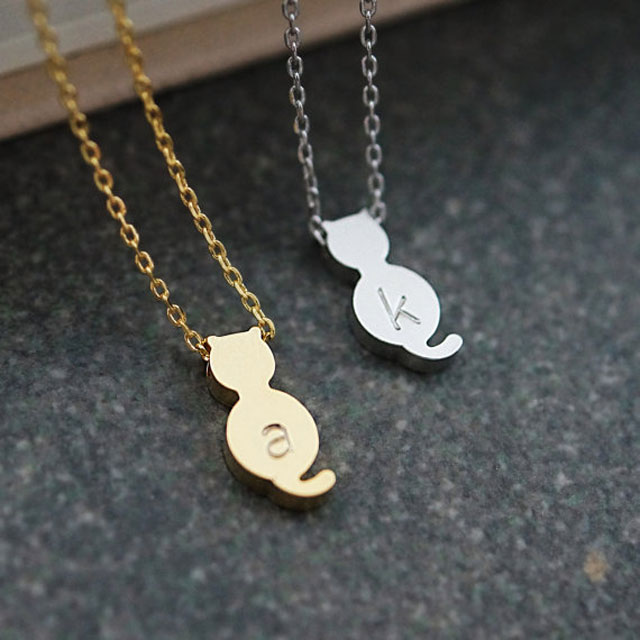 11. Cat Monogram Necklaces