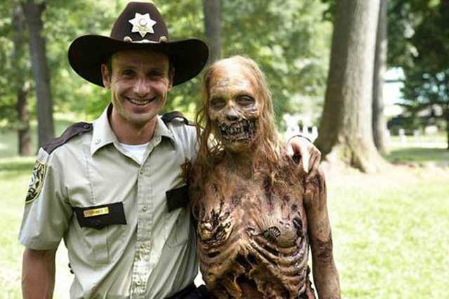 Rick Grimes and a zombie