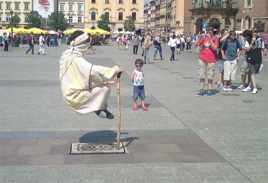 Levitating man