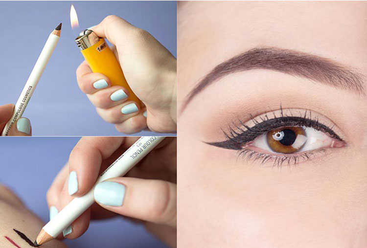 Burn the tip of the pencil eyeliner