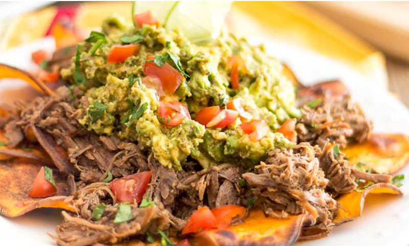 Nachos with lamb meat