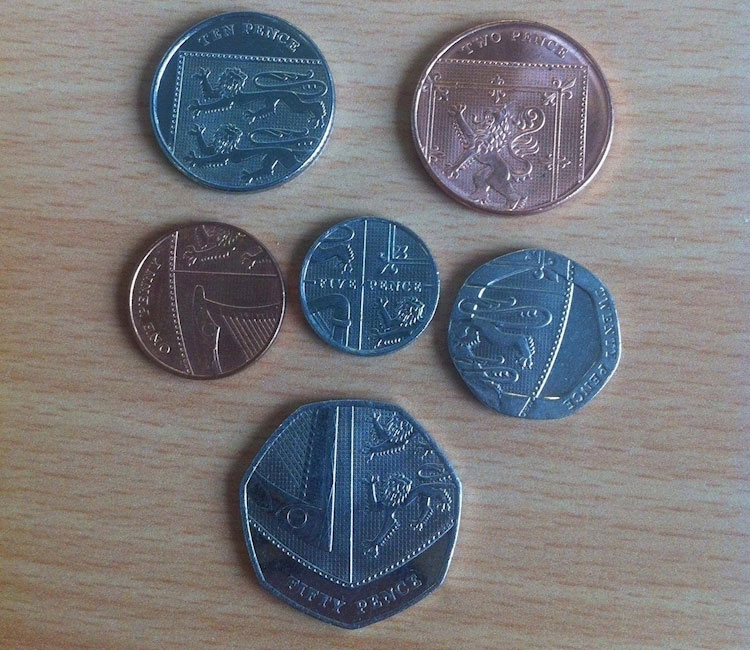 British coins form a picture of the country's coat of arms