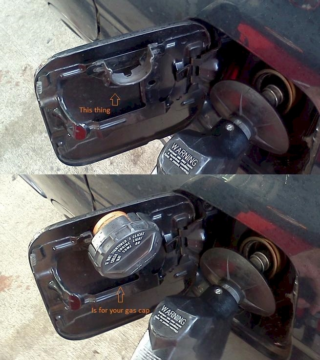You don't need to hold your gas cap in your hand
