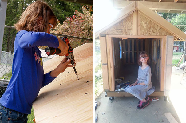 She builds shelters for the homeless