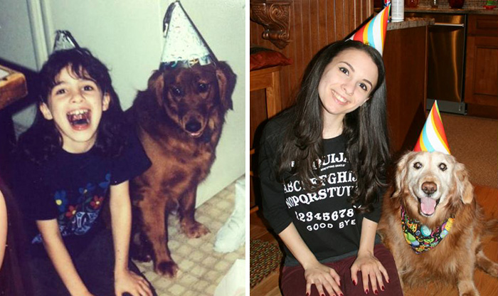 """This Is Brandy And Me On Her First Birthday, And 14 Years Later On Her Fifteenth"""