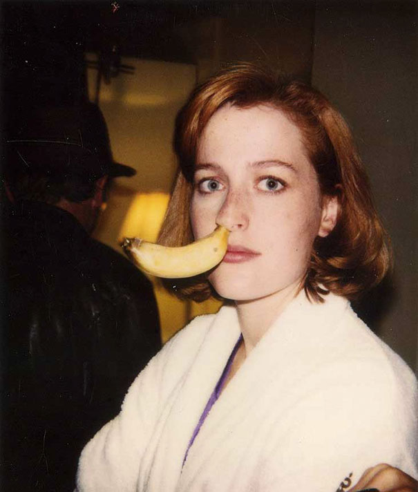 Gillian Anderson With A Banana In Her Nose On The Set Of The X-Files