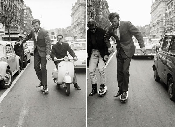 Clint Eastwood Skateboarding In Rome, 1965