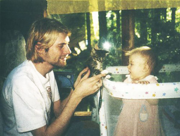26-Year-Old Kurt Cobain Showing A Kitten To His Daughter Frances, 1993