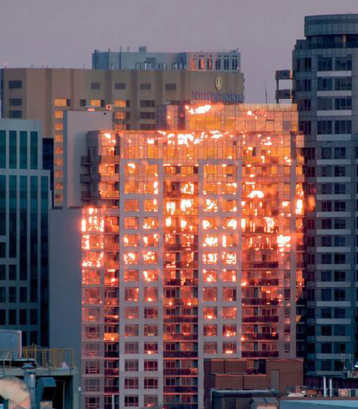 """Every Time I Think That This Building Is Burning, But It Is A Reflection Of The Sunset"""