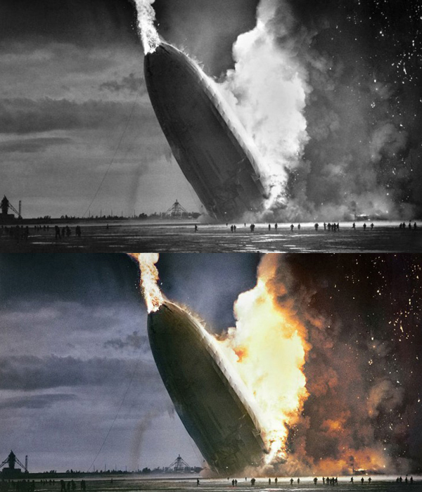 The historic photo of Hindenburg