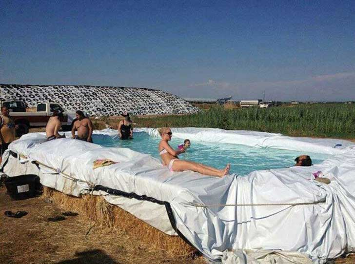 A fancy pool in the middle of no where