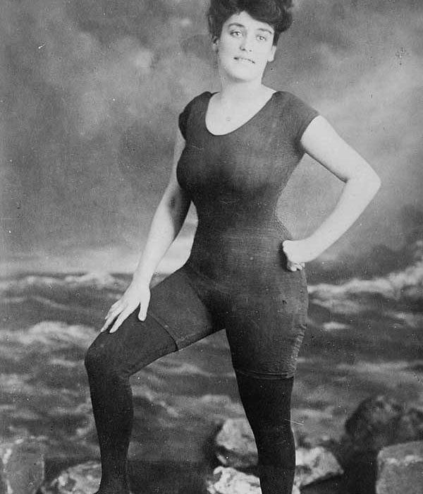 Annette Kellerman, the first women to wear a one-piece bathing costume