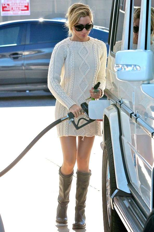 Ashley Tisdale at the gas station
