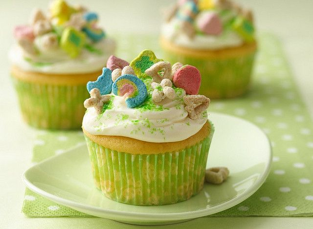 A classic cupcake covered with Lucky Charms