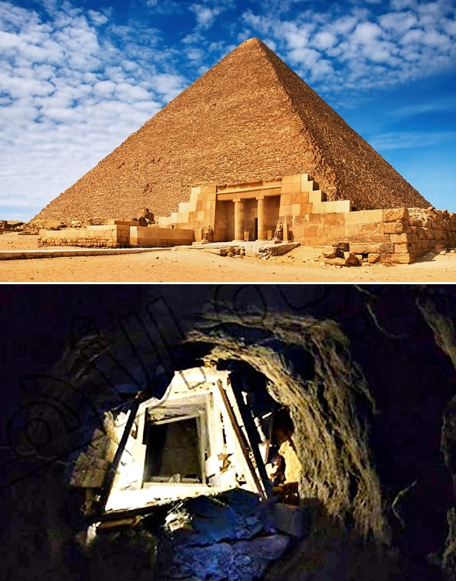 A tunnel with a view to the Great Pyramid of Giza