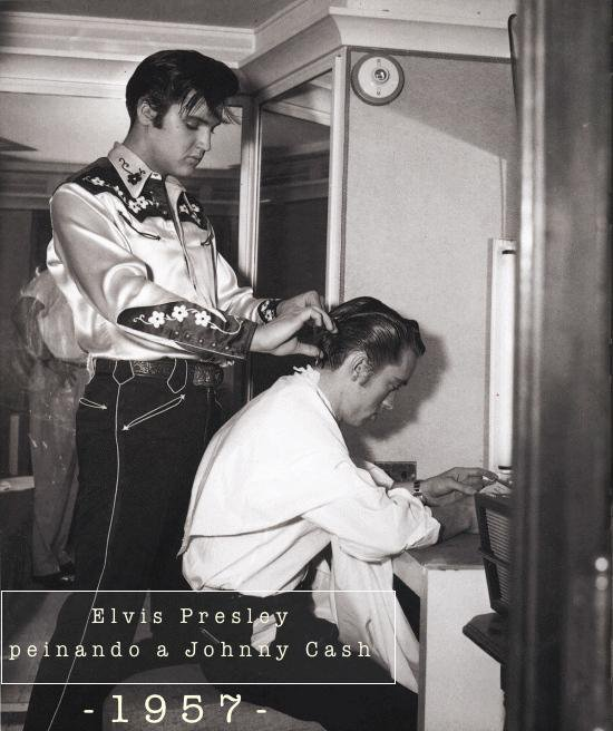 Elvis Presley cutting Johnny Cash's hair