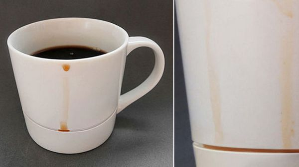 Clever Mug Catches Coffee Drips