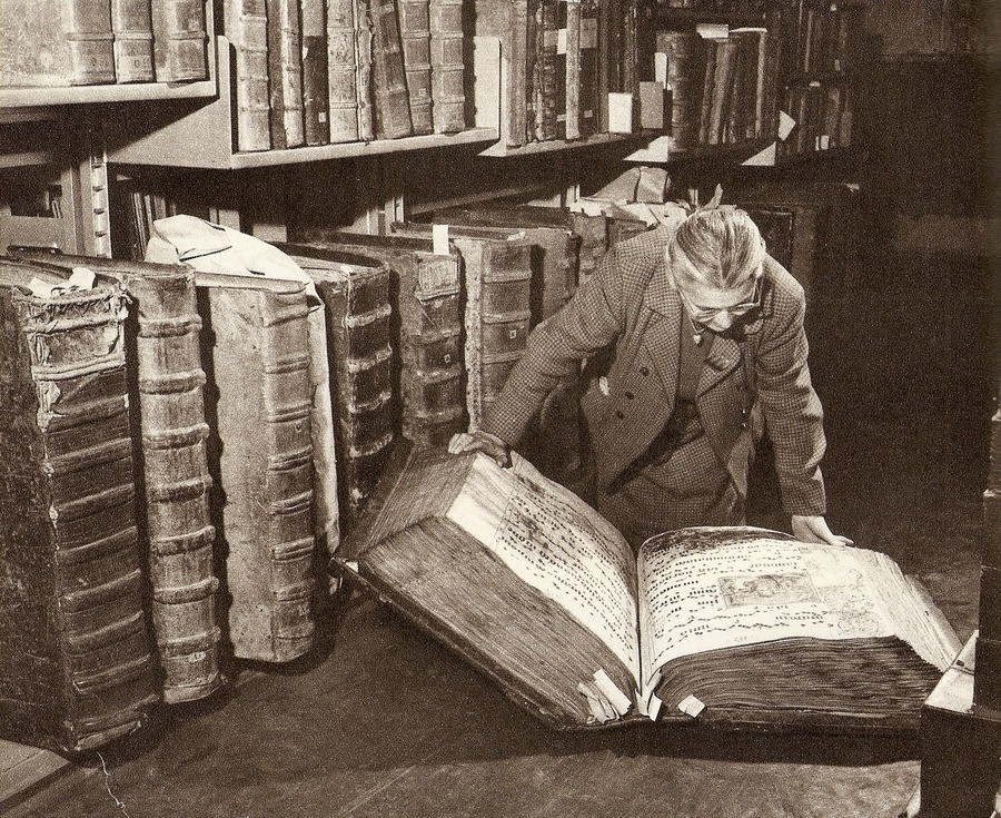 The giant books in the archives of the Castle of Prague
