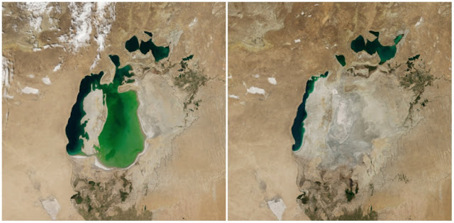 The Aral Sea between Kazakhstan and Uzbekistan