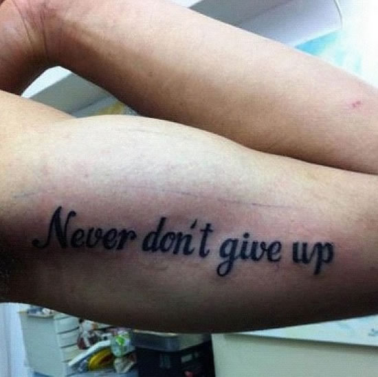 Never don't give up.