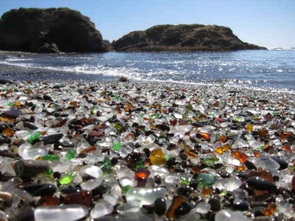 Glass beach in California.