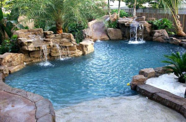 Waterfall swimming pool