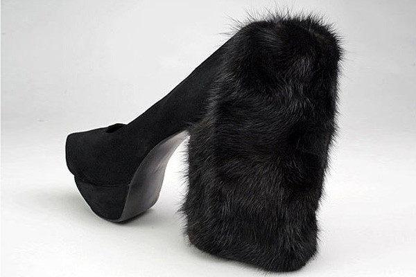 3. Furry heel shoe