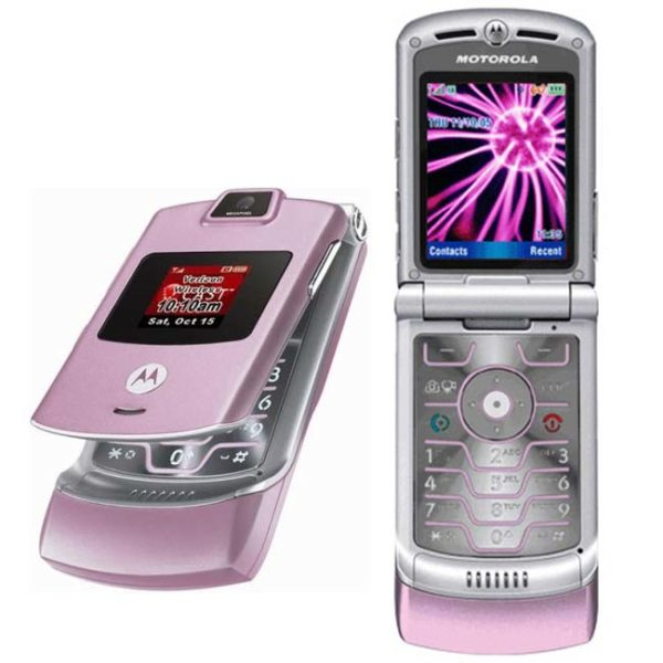 "1. Your pink ""Razr"" flip phone."