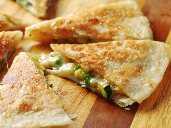 Corn and zucchini quesadillas