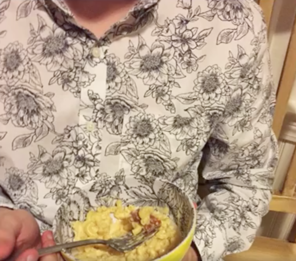 Shirt and pasta bowl