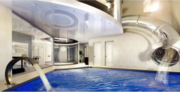 3. A water slide that takes you directly to your bedroom swimming pool