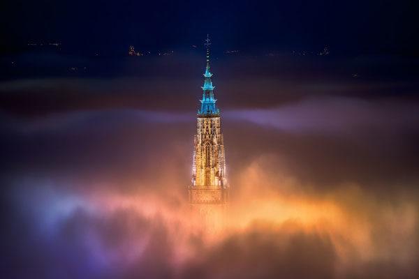 Toledo City Foggy Night