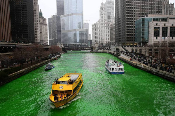 Rivers are dyed green