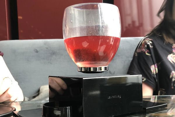 Floating wine glass